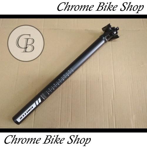 Foto Produk Seatpost Tiang Sadel Sepeda 28.6 Alloy Hitam 40cm United Speed dari Chrome Bike Shop