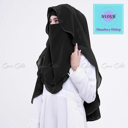 Foto Produk Hijab Niqab Lis Original Cadar Sifon - Hitam dari almadury olshop