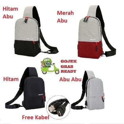 Foto Produk tas selempang kanvas pria/sling bag/tas slempang anti air #08 ManBag - Abu-abu dari Alat Ukur Dan Repeater