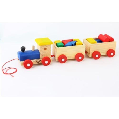 Foto Produk ME218 Mainan Kayu Edukatif Anak Kereta Api Susun Balok Geometri Tarik dari Clicks N Shop