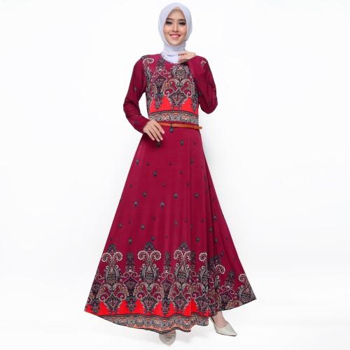 Foto Produk Long Dress Maxi Muslim Dewasa Corak Model Terbaru - Jfashion Esti - Maroon dari j--fashion