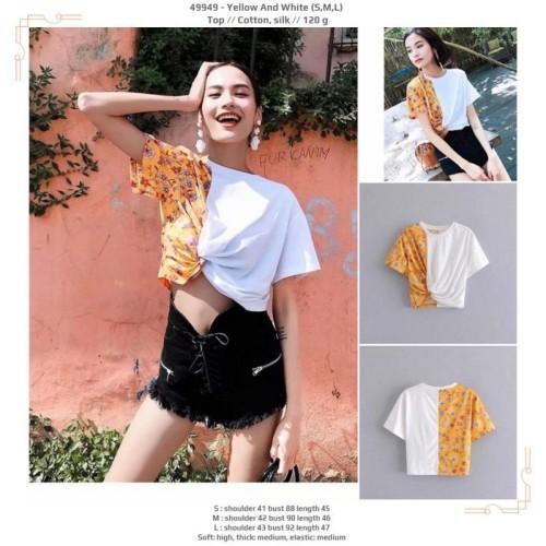 Foto Produk 49949 Yellow And White Top / Blouse Crop Putih Kuning dari XineShop