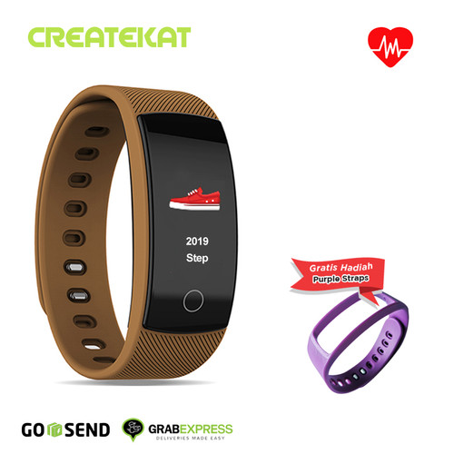 Foto Produk Createkat Smartwatch Heart Rate Monitor Smart Band Gelang Pintar - Cokelat dari CreateKat