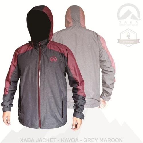 Foto Produk XABA jaket waterproof series summit - kayoa - black grey -grey maroon - Merah dari XABA