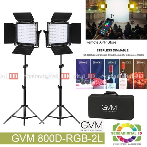 Foto Produk GVM 800D-RGB 2L LED Studio Light Smart WiFi (paket 2 set) Garansi dari serbadigital-id