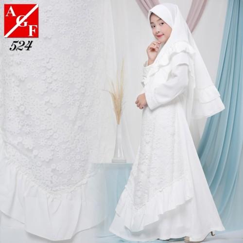 Foto Produk AGNES Gamis Putih Anak Perempuan Baju Muslim Lebaran Anak Wanita 524 - 4 TAHUN dari Agnes Fashion88