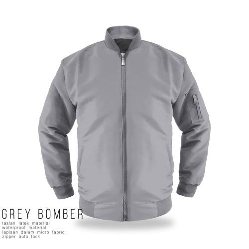 Foto Produk jaket bomber grey taslan - SIZE L dari bosku.apparel