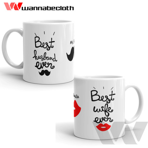 Foto Produk Gelas Mug Unik Souvenir Kado Mug Couple Best Husband an Wife Ever dari wannabecloth