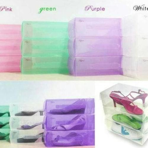 Foto Produk Box Atau Kotak Sepatu Plastik Transparan Warna Warni - HHM001 dari Raka Here_shop