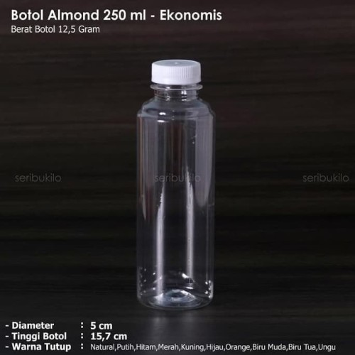 Foto Produk Botol Almond 250 ml / Botol Plastik 250 ml - Ekonomis (GOJEK/GRAB) dari Raka Here_shop