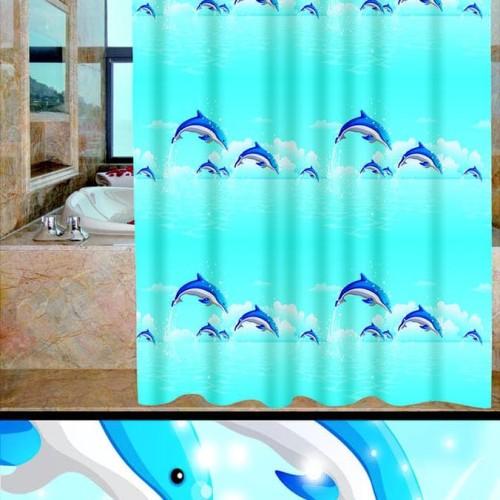 Foto Produk Tirai Kamar Mandi anti air PEVA sudah dilengkapi pengait - LUMBA LUMBA dari Raka Here_shop