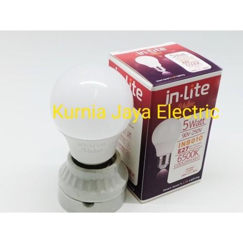 Foto Produk Lampu Led Bulb 5W Putih Cool Daylight In-Lite E27 220V dari Kurnia Jaya Electric