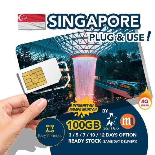 Foto Produk 10 days 300GB 4G+ Singapore simcard , STARHUB / M1 Singapore sim card dari Ezzy Connect