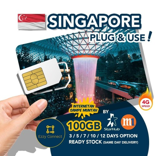 Foto Produk 14 days 300GB 4G+ Singapore simcard , STARHUB / M1 Singapore sim card dari Ezzy Connect