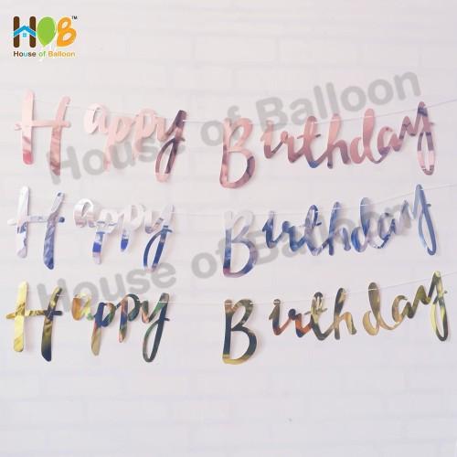 Foto Produk Banner Bunting Flag / Happy Birthday Gold Cursive Tulisan Sambung - GOLD dari House Of Balloon