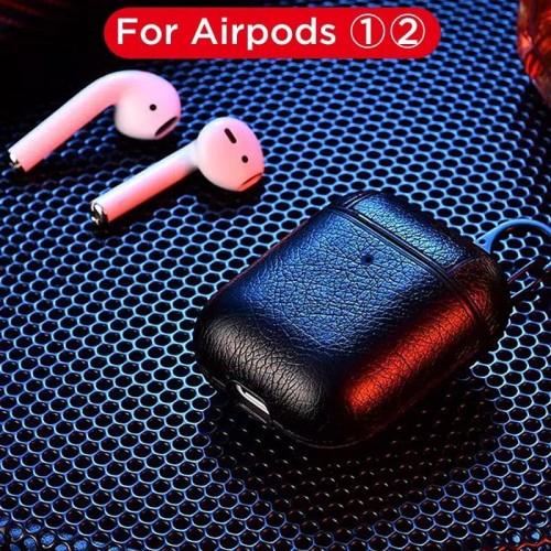 Foto Produk Leather Apple Airpods Case kulit casing cover Hook pengait airpod - Hitam dari Rkaseshop
