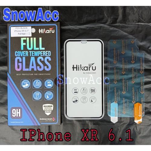 Foto Produk Hikaru Tempered Glass iPhone XR Anti Gores Kaca Full Cover Free Blkg dari SnowAcc