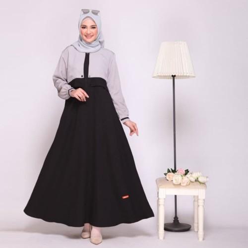 Foto Produk GAMIS NIBRAS NB A11 BLACK - DRESS MUSLIM WANITA KEKINIAN - L dari ZarifaHouse