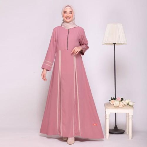 Foto Produk GAMIS NIBRAS NB A09 DUSTY PINK - DRESS MUSLIM CANTIK KEKINIAN - XL dari ZarifaHouse