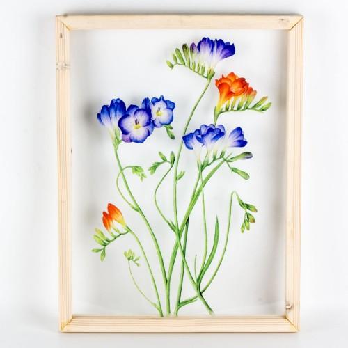 Foto Produk Bunga Biru Orange Acrylic Wall Seruni Living dari Seruni Living
