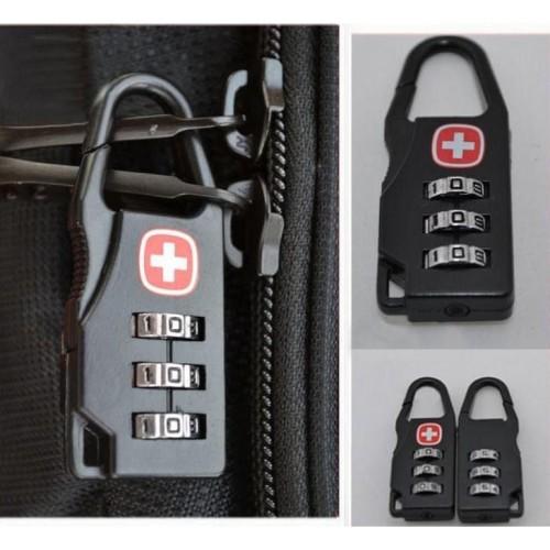 Foto Produk Swiss Gembok Koper Kode Angka - 104 - Black dari rubic wear