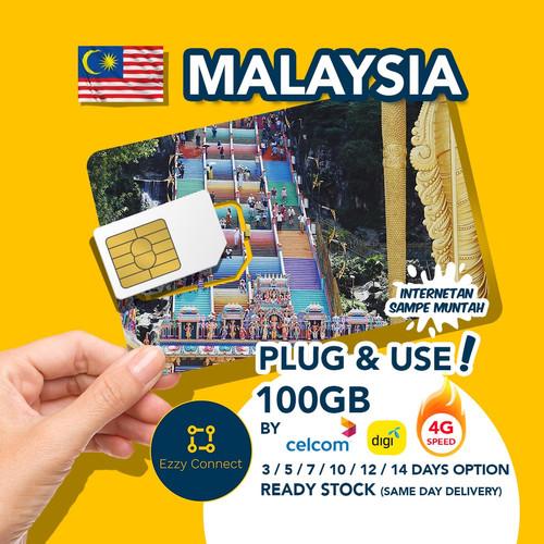 Foto Produk 5 days 100GB 4G+ Malaysia simcard , CELCOM / DIGI Malaysia sim card dari Ezzy Connect