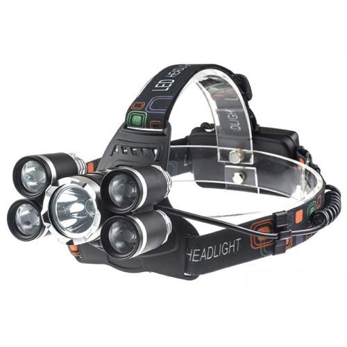 Foto Produk Senter kepala 5 LED / Headlamp Cree XM-L 1T6 4XPE 16000 Lumens dari Sungai Kuning