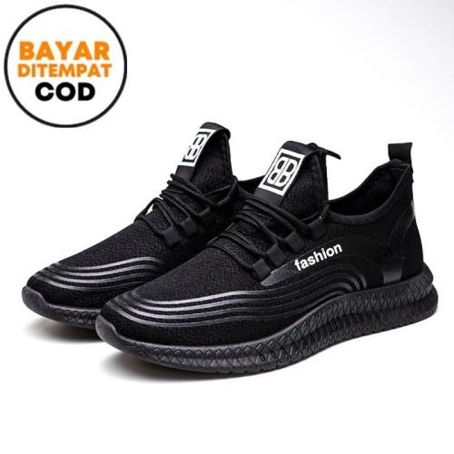 Foto Produk Techdoo Sepatu Sneakers Pria Sepatu Import Running Sepatu Pria MR208 - Hitam, 40 dari Techdoo