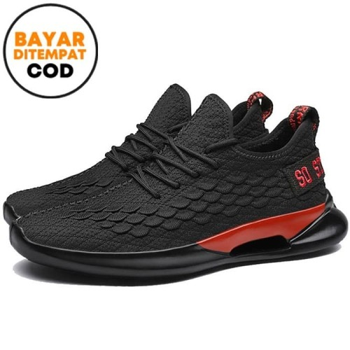 Foto Produk Techdoo Sepatu Casual Pria Sepatu Sneakers Motif Sisik Ikan MR101 - Hitam, 40 dari Techdoo