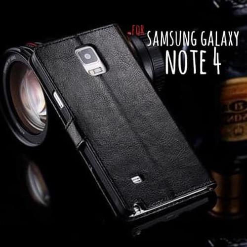 Foto Produk Samsung Galaxy Note 4 Note4 Flip Wallet Kulit Leather Cover Case Kartu dari 17 Agustus