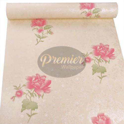 Foto Produk Mawar Pink Latar Cream Wallpaper| 45CM x 10M dari Premier Wallpaper