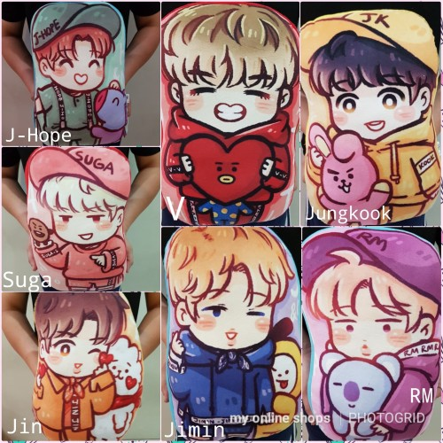 Foto Produk Bantal Boneka BTS KPOP Standing Cartoon Unofficial dari My Online Shops