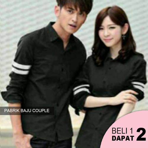 Foto Produk Kemeja Couple Listro Polos - Hitam dari Pabrik Baju Couple