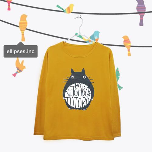 Foto Produk Tumblr Tee / T-Shirt / Kaos Wanita Lengan Panjang Totoro Warna Mustard dari Ellipses.inc