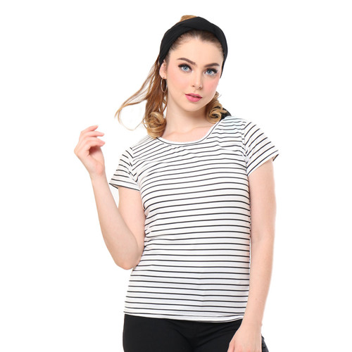 Foto Produk MOSIRU Kaos Wanita Baju Oblong Termurah Tumblr Tee O-neck Salur Middle - Putih dari Mosiru Official Store