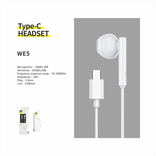 Foto Produk Resong WE5 Headset HD Sound Bass Earphones With Microphone For Type C dari Cute Agassi