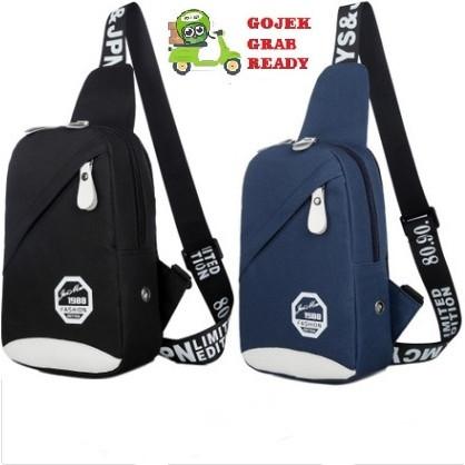 Foto Produk tas selempang kanvas pria/sling bag/tas slempang anti air #07 Fashion - Biru Tua dari Alat Ukur Dan Repeater