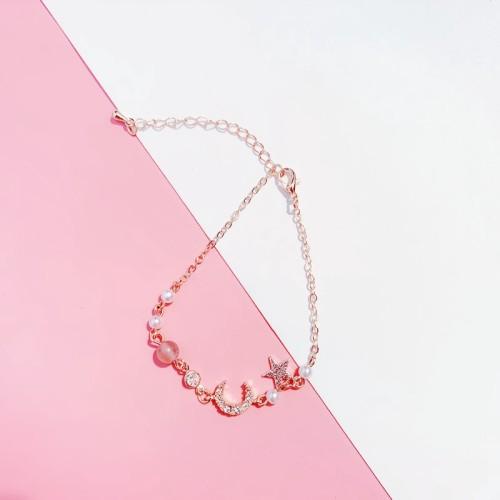 Foto Produk Gelang Rantai Manik Manik Mutiara Kristal Bintang Bulan Warna Gold S dari Elysia Shop id