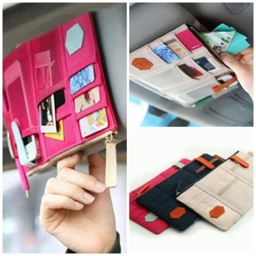 Foto Produk Holder Tempat Kartu Pen Handphone Di Mobil Sun Visor Car Organizer dari Karlina Online