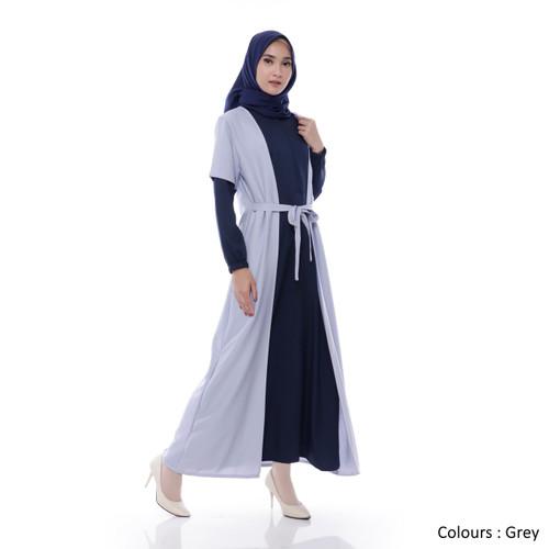 Foto Produk Gamis Wanita | Inayah Maxi | Dress Muslim Polos Original - Grey dari Tazkia Hijab Store