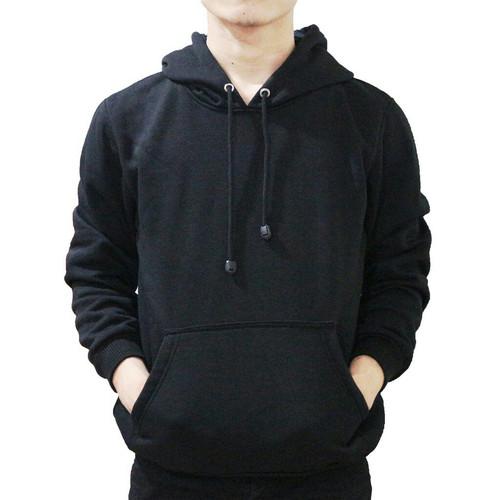 Foto Produk Best seller !!! Jaket Sweater Polos Hoodie Jumper Hitam Unisex Keren - JUMPER HITAM, M dari stuvco.sportswear