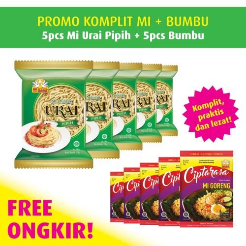 Foto Produk Mi Urai Pipih Promo Pack Free Bumbu Ciptarasa (5 pcs) dari BURUNG DARA OFFICIAL