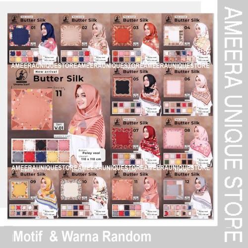Foto Produk BUTTER SILK Umama Jilbab Hijab Kerudung Segi Empat SegiEmpat Printed M - Random dari ameera unique store