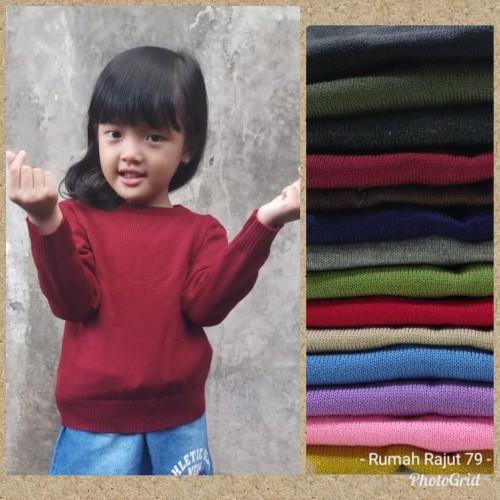 Foto Produk Sweater rajut anak polos kerah bulat O neck dari Seven Nine Shop