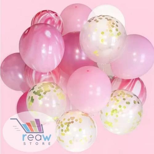 Foto Produk Balon Latex Set Confetti Marble Pink dari SRI RATU