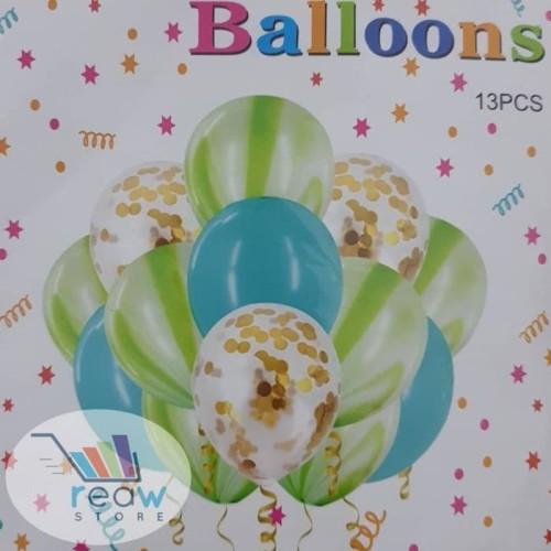 Foto Produk Balon Latex Set Confetti Marble Hijau dari SRI RATU
