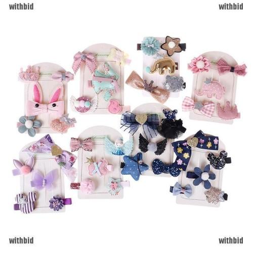 Foto Produk 5Pcs/Set Kids Girls Bowknot Hair Clips Barrette Hairpin Hair Accessory dari Rhi3na Shop