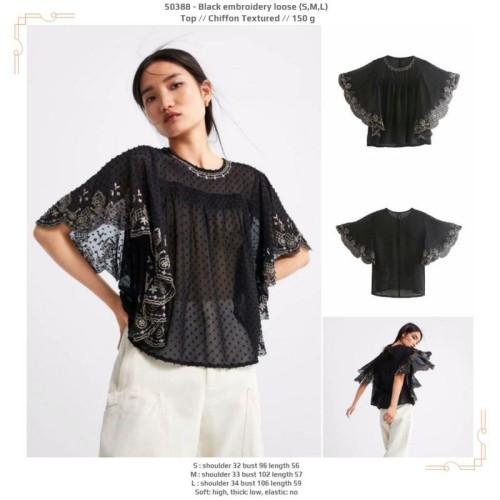 Foto Produk 50388 Black Embroidery Loose Top / Blouse Outer Pesta Hitam dari XineShop