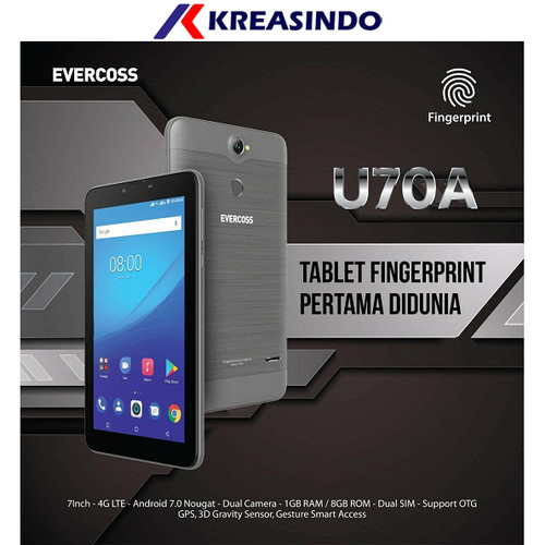 "Foto Produk Evercoss U70A 1/8 Tablet 4G LTE 7"" Fingerprint Garansi resmi dari Kreasindo Online"