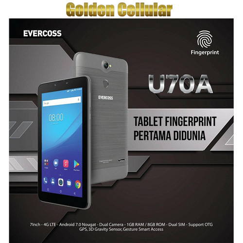 "Foto Produk Evercoss U70A 1/8 Tablet 4G LTE 7"" Fingerprint Garansi resmi - Hitam dari Golden Cellular"